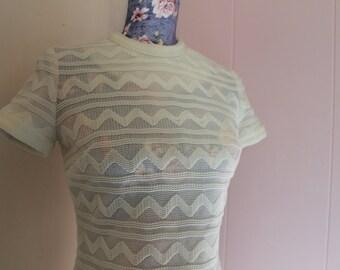 Sale! Vintage 60's Women's Ivory Knit Short Sleeve Dress