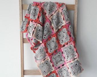Crochet blanket, granny square blanket, crochet blanket for a girl, girl's crochet blanket, pink crochet blanket, pink blanket, bedspread
