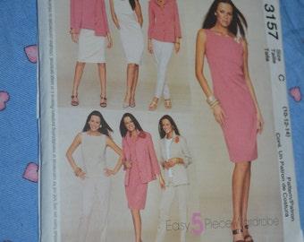 McCall's 3157 Misses - Miss Petite Dress Top Shirt- Jacket Pants and Skirt Sewing Pattern - UNCUT - Sizes 10 12 14 - Sleeveless dress