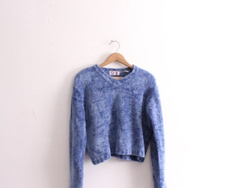 Blue Chenille Boxy 90s Sweater