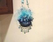 Christmas Ornament Blue Black Purse Beaded Dangle