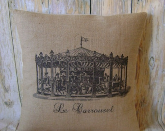 """French Carousel - 16"""" Hessian Jute burlap cushion/pillow cover Vintage French Circus shabby chic country UK handmade"""