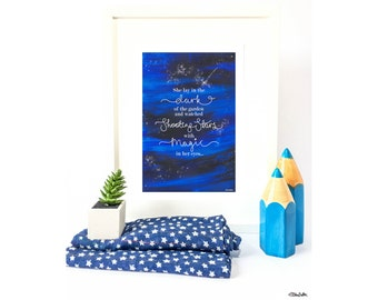 Shooting Star Quote, Hand Lettered, Original Quote Print, Wall Art Print, Blue Home Decor, Galaxy Print, Night Sky Print, Starry Night Sky