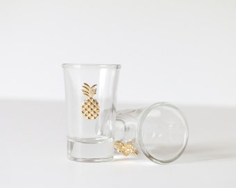 Gold Pineapple Shot Glasses | Wedding and Bachelorette Party Favors
