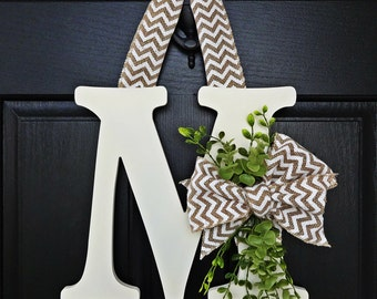 Off White Chevron Burlap and Greenery Wreath, Greenery Monogram Wreath, White Chevron Wreath, Front Door Letter, Burlap Letter Wreath