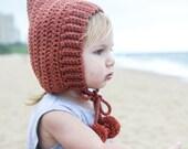 Rust Baby Bonnet, Pixie hat, newborn photography prop, rust hat with pom pom, handmade by VeraJayne, newborn baby hat