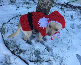Dog sweater, santa hat, christmas, santa claus, crocheted (All sizes available)