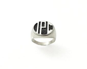 monogram ring. College ring. Initials ring. Silver monogram ring. Men initial band. Mens initial ring. Engraved silver ring. Circle ring