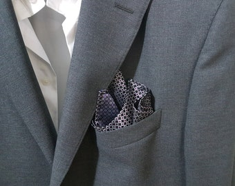 SILK Pocket Square in Purple Silver and Black