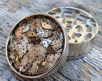 Steampunk Metal  Herb Grinder - Steampunk Watch Cyber Spice Crusher - mint grinder -