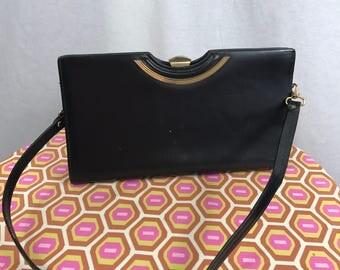 Vintage 1960's Black Leather Handbag Purse