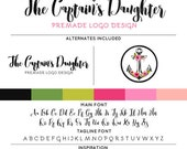 Floral Anchor Logo & Watermark Premade Design - Custom Business Branding / Personal Name Text Graphics - With Alternates Included