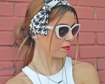 50s Head Scarf, Workout Head Scarf, Blue Headband, Headband Adult, Woman Top Knot, Cotton Head Wrap, Pin Up Headband, Bow Headband, Turban