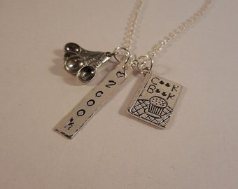 Cooking/Love to Cook Hand Stamped Silver and Pewter Charm Necklace