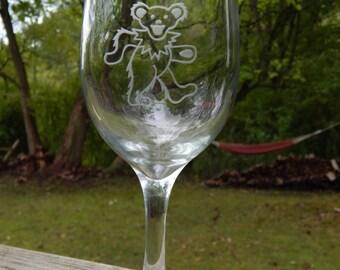 Grateful Dead Bear Hand Etched Glass