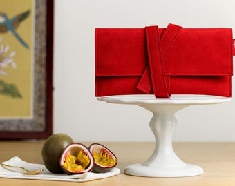 Pochette, wallet, clutch bag, tobacco, accessory cases, faux suede, Alcantara, vegan, red, mens, womens, gift.