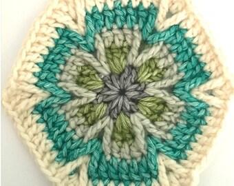 Mesmerize Hexagon Motif crochet pattern, pdf