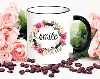 Smile, Mug Gift with Flower Wreath