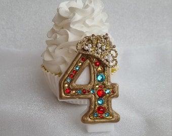 Tiara, princess, Elena of Avalor, Gold, red, and aqua birthday candle, keepsake candle, anniversary candle, custom candle