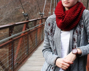 Red Hand Knit Scarf, Red Infinity Scarf, Red Eternity Scarf, Knit Winter Scarf, Women Scarf and Teen Scarf
