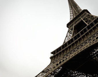 Eiffel Tower Paris Photography - Photo of the Eiffel Tower in the City of Paris, France.  Vintage Style French Photograph