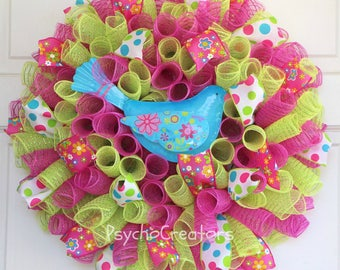 Spring Wreath, Blue Bird of Happiness, Choice of Birds, Small Curly Spiral Deco Mesh Wreath, Pastel Hot Pink Green