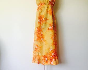70s Hawaiian Maxi Dress Size S M by Pompare