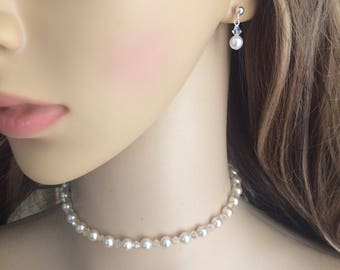 Tiny Swarovski pearl drop bridal earrings Sterling Silver studs crystal and pearl wedding earrings, white or cream pearl earrings jewellery