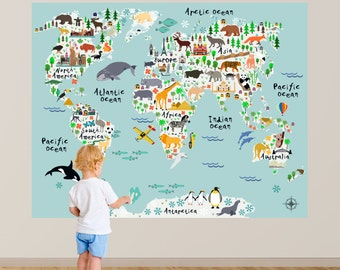 Map Wall Decal, Kids Map Wall Decal, Animal Map Wall Decal, Map with Animals Wall Decal, Playroom Wall Decal, Nursery Wall Decal, Map Decor