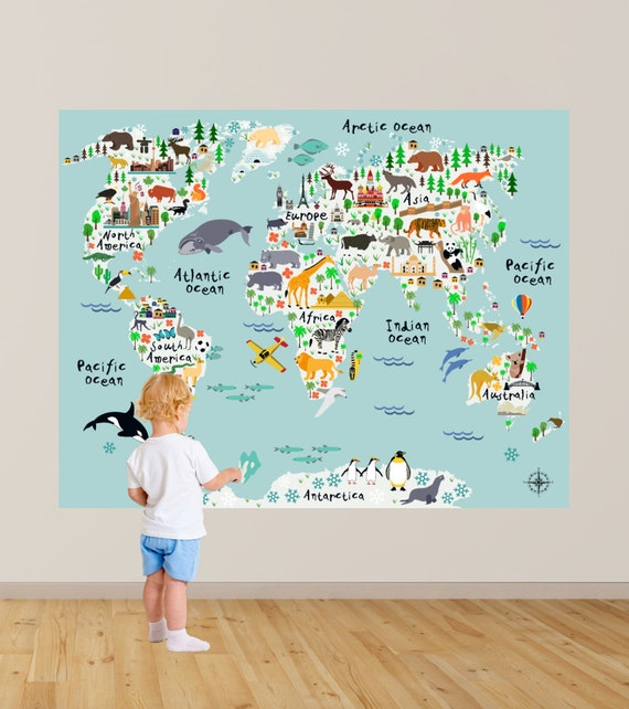 HUGE Map Of The World Playroom Decal World Map Wall - World map for playroom