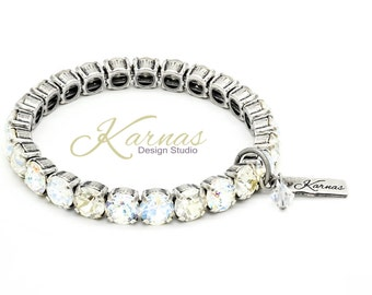 HEAVENLY MIX 8mm Crystal Chaton Stretch Bracelet Made With Swarovski Elements *Pick Your Finish *Karnas Design Studio *Free Shipping