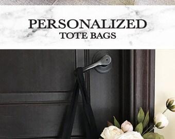 Personalized Tote Bag - Bridesmaid Tote Bag - Personalized Bridesmaid Gift Bags - Bridal Party Totes (EB3216P)