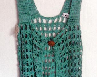 sleeveless vest - crochet - been - cotton - woman - size 40