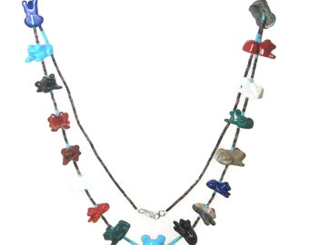 Vintage Native American Navajo Heishi Fetish Frog Necklace