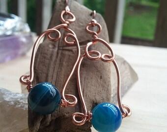 Blue lace agate earrings, copper earrings, wire wrapped, handmade earrings, dangle earrings