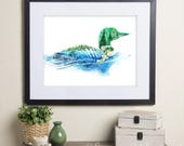 Gavia/Loon Diver - Lake & Forest Spirit Animal - Ontario Canada Art print - Summer Watercolor Painting - Home decor Wall Art 8x10 11x14