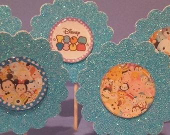 Tsum Tsum Cupcake Toppers, Cake Topper, Party Favor, Cupcake Topper, Birthday Toppers, Double Sided Toppers,Decoration