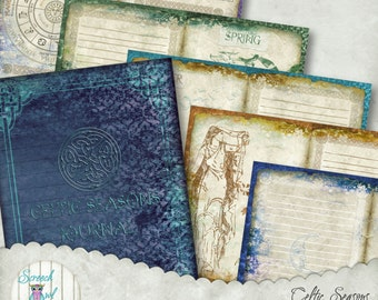 Celtic Journal, Book of Shadows, Printable Journal Pages, Wheel of the Year Calendar, Paper Craft Supplies - 'Celtic Seasons'