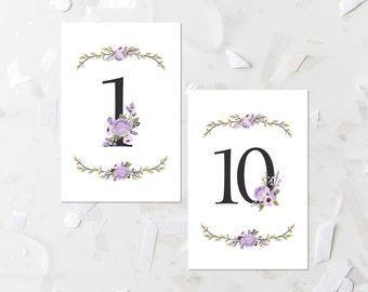 Wedding Table Number Printable Numbers 1-10 Lavender Floral Table Numbers Wedding Decoration Wedding Place Cards Purple Wedding Numbers