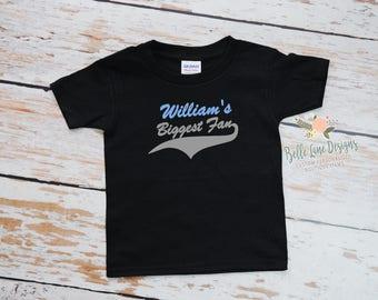 Toddler's Baseball Biggest Fan with Name Tshirt | Big Brother's Biggest Fan | Baseball Brother Shirt | Baseball Fan Family | 287