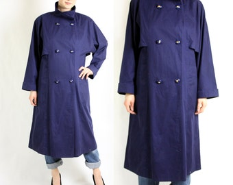 Vintage 80's Navy Blue Double Breasted Trench Coat Medium
