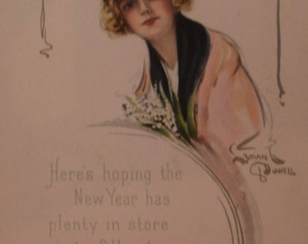 Beautiful Woman and Lilies of Valley A/S Lyman Powell Vintage New Year Postcard