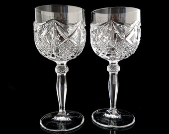 60s Crystal Wine Glasses Goblets, Set of 2 / Mid Century Barware, Bar Cart Accessories