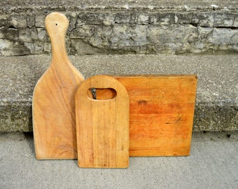 Set of 3 Collection of Vintage Cutting Boards Bread Boards // Primitive Country Farmhouse Rustic / ALifetimeofVintage