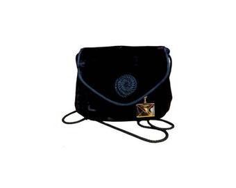 1980s LANCEL black velvet small purse // etnic lancel velvet small Evening Bag