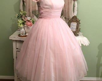 Pink Chiffon 50s Dress, Elegant Ballerina, 1950s Dress, XXS/XS, Bridesmaid Dress, Maid of Honor, Birthday Dress, Pretty in Pink Dress