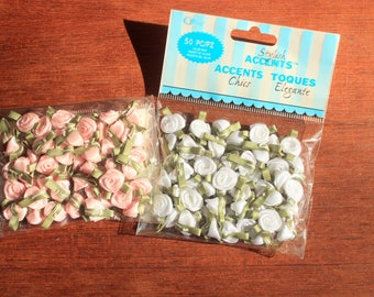 50 Pieces Mini Rolled Roses , Rolled Satin Flowers, Fabric Flower Embellishment, Flower Decoration, Mini Roses