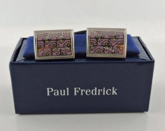 Silver Tone With Lite Lavender Floral Pattern Paul Fredrick Cuff Links