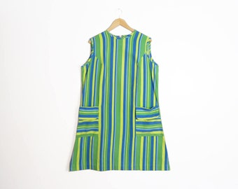 Vintage 60s Mod Lime Green Striped Shift Dress Size XL