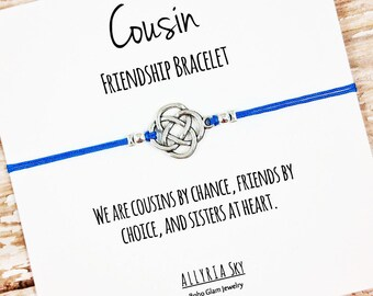 """Cousin Friendship Bracelet with """"Cousins by Chance, Friends by Choice, Sisters at Heart"""" Card 